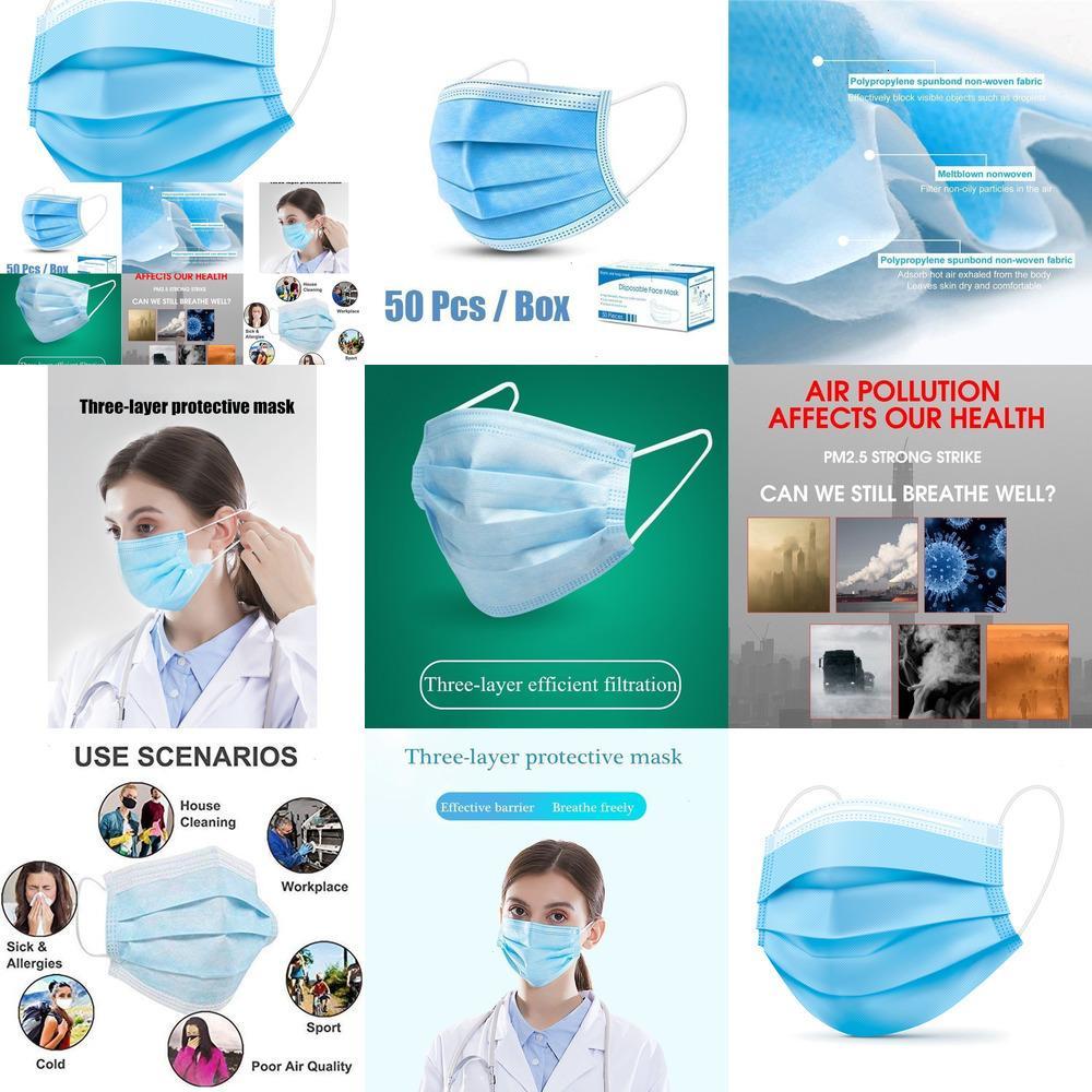 100pcs verdickte Einweg-Gesichtsmaske 3-Schicht-Non-Woven-Eigenschaften 50pcs / box LTYOC