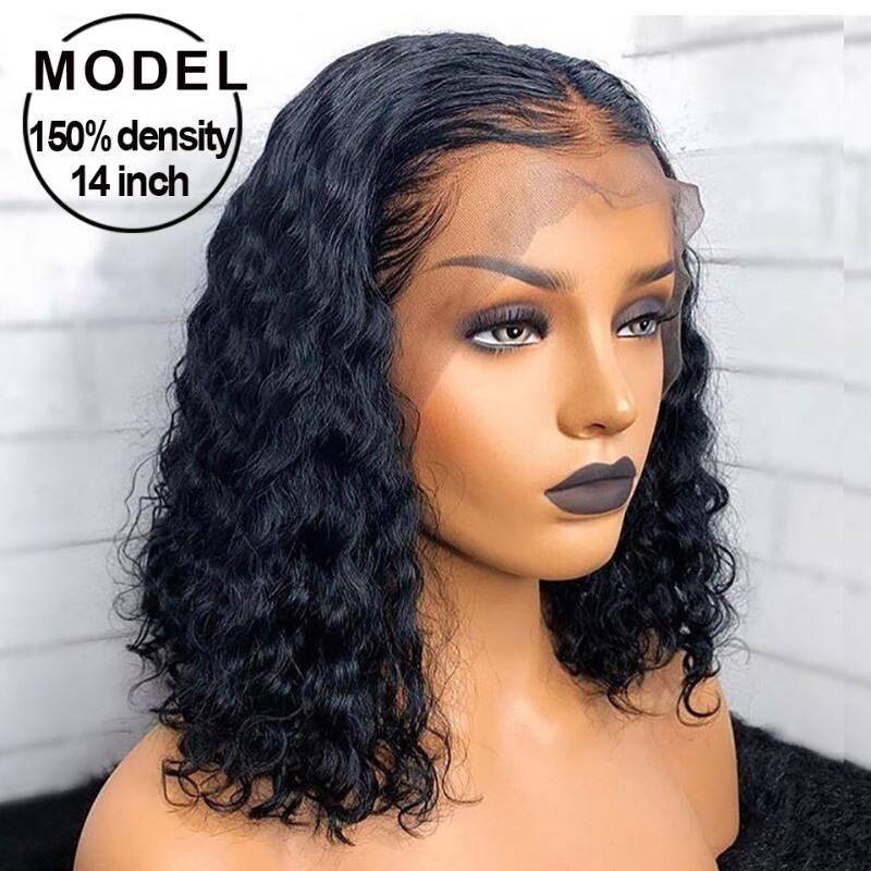Ricci Corti Bob parte anteriore del pizzo dei capelli umani parrucca Pre a pizzico per le donne Glueless Nero 13x6 dell'onda profonda frontale parrucca di Remy Pizzo frontale parrucche