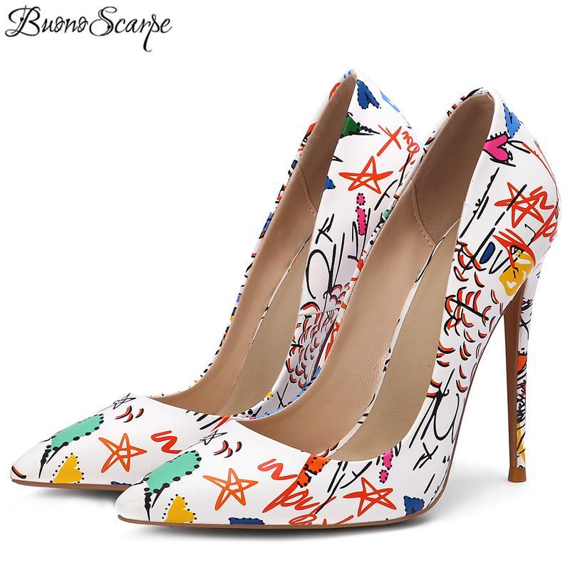 Граффити женщин Высокие каблуки Shalow Рот Остроконечные партии Обувь Stiletto Sexy Printed насосы Цветы девушка обувь