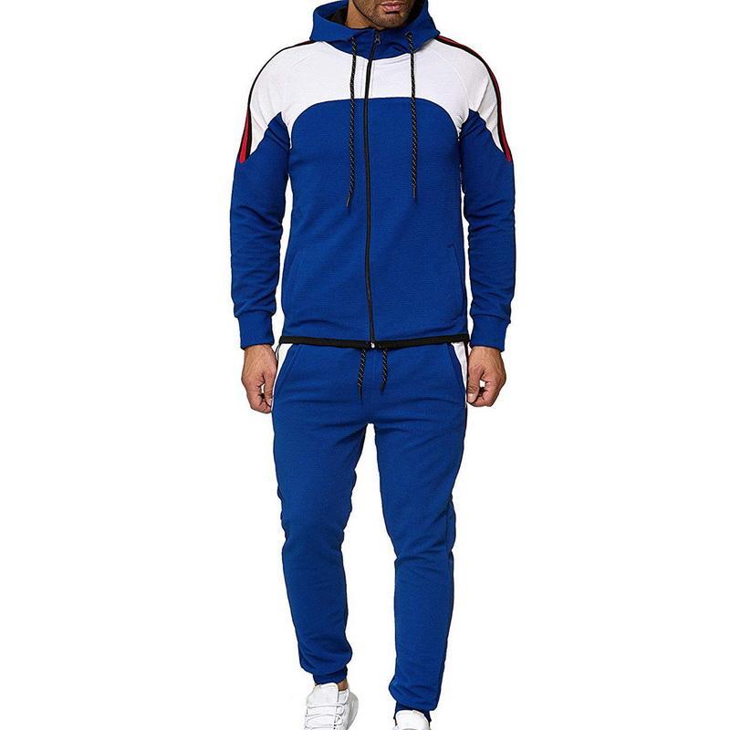 LOOZYKIT Colorblock Sport Costume Hommes Deux pièces Workout Ensemble Zipper Hoodie Casual Sweat Veste Pantalon de sport Patchwork