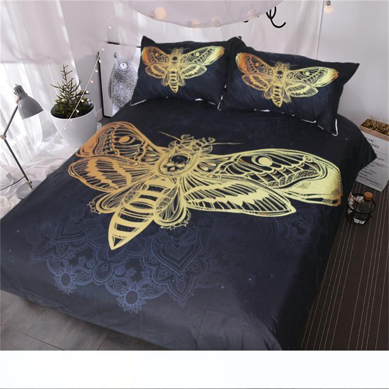 Bed Set Death Moth Skull Duvet Cover Bedding Set Black Golden Home Textiles for Adults Butterfly Boho Bedclothes Twin Queen King Size 3pcs