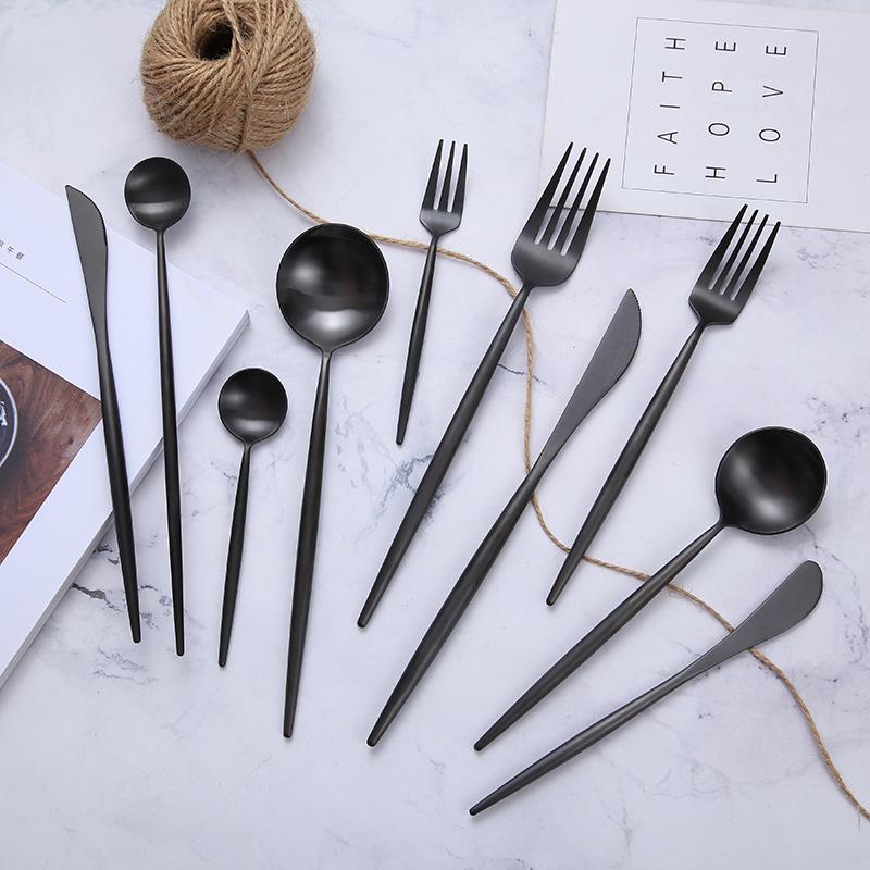 Matte preto cutelaria conjunto de aço inoxidável conjunto de talheres de cozinha de talheres de talheres de talheres de talheres de talheres colher faca pauzinhos cl200919