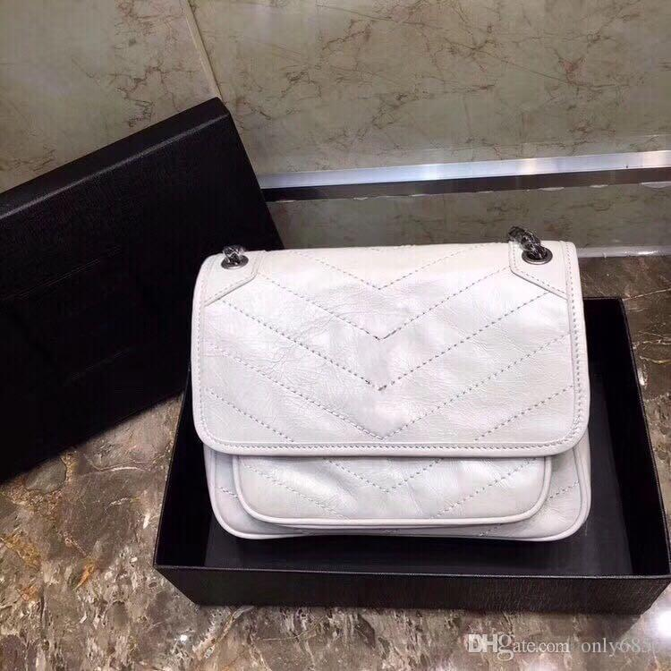Venta al por mayor del tirón retro clásico plisado bolsa de mensajero portátil acolchada cadena bolsa de mensajero del hombro del bolso de los bolsos de las mujeres