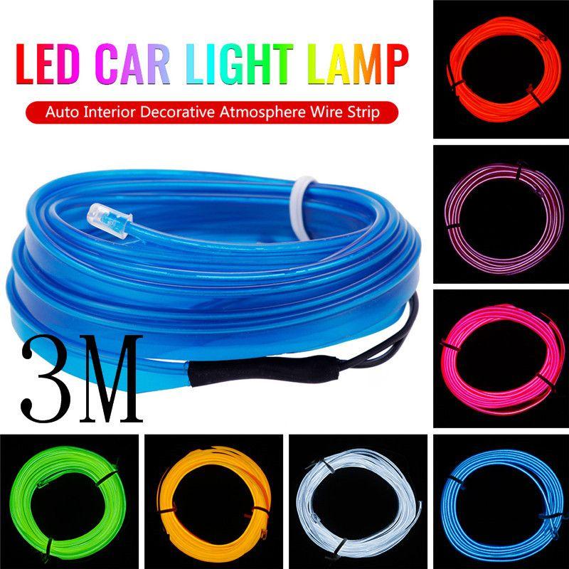 Nouveau 3M 12V Lampe LED Lumière de voiture flexible auto décoration intérieure atmosphère dénudage LED lumière froide Fit toutes les voitures 12V DC