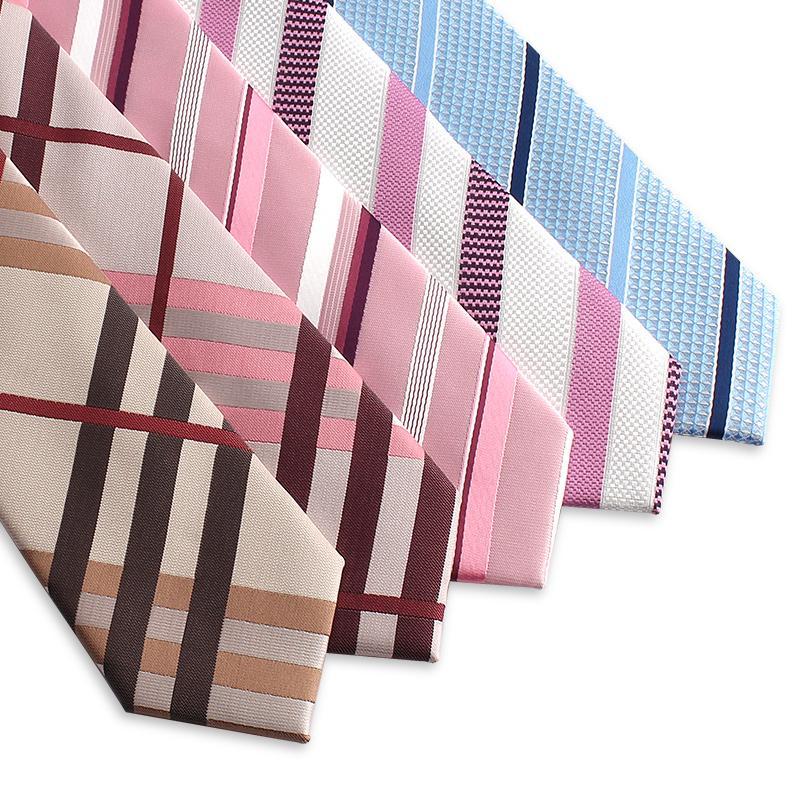 2020 New Designers Бренды Мода Бизнес Повседневный 5.5cm Тонкие галстуки для мужчин Розовый Тощий Полосатый Галстук Офис Работа с подарочной упаковке