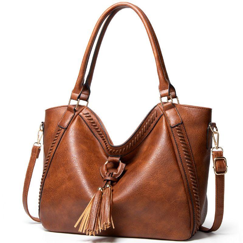 Women Vintage PU Leather Large Capacity Solid Color Black Handbag Tote Tassel Design Travel Working Party Crossbody Bag 2020 Sac