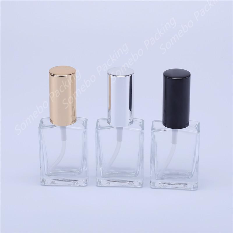 10pcs 30ml Transparent square glass perfume spray bottle with pump for cosmetic packing mist spray bottle