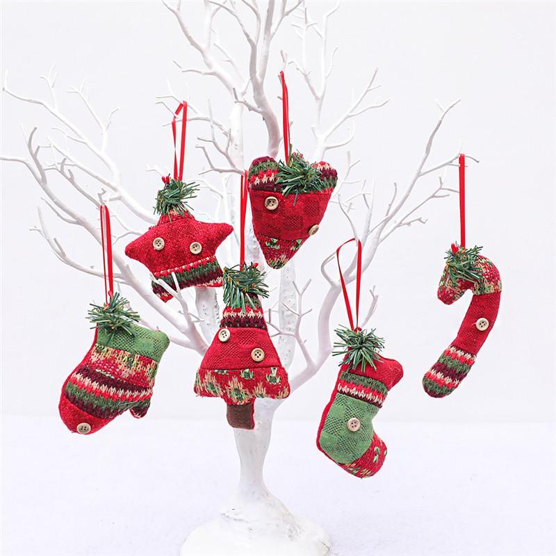 Árvore Pingentes peúgas do Natal criativas Canes presente Cena enfeites de Natal Decoração de Natal Vestir-se Supplies 60pcs T1I2431