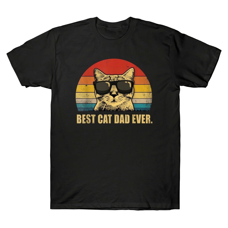 2020 Moda mejor gato del papá nunca Retro de la camiseta de padres divertido para hombre mejor regalo del día Tees