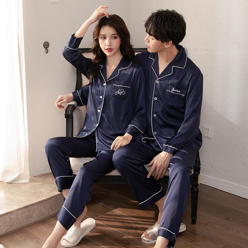 Gli amanti degli indumenti 2PCS Pajamas Set biancheria da notte in raso ricamo Lettera kimono abito Pigiama Completo ShirtPants Casual Homewear