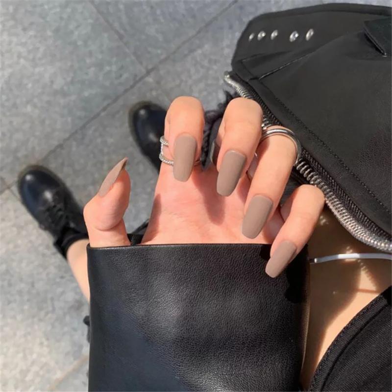 Nusx конфеты цвета 24pcs Новый Coffin Матовый Поддельные Гвозди Long Round Soft Матовый Нажмите на ногтях Цветные Изумрудный Ложные