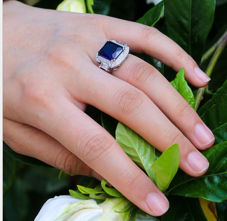 Anello dell'anello del cocktail del cocktail dell'annata di lusso per le donne Deep Blue Blue Cubic Zircone Pietra Panta Pronunciare Ambito anello gioielli da sposa per le donne