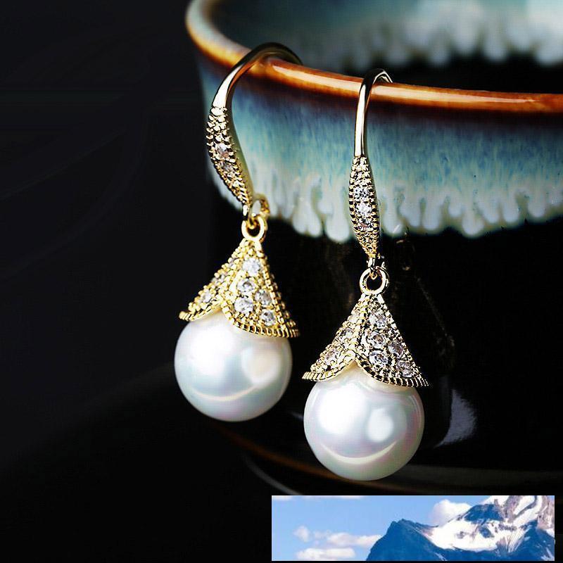 Mode cuivre Inlay CZ Zircon Couronne perle Dangle Boucles d'oreilles strass crochet Boucles d'oreilles pour les femmes Fine Jewelry élégant cadeau