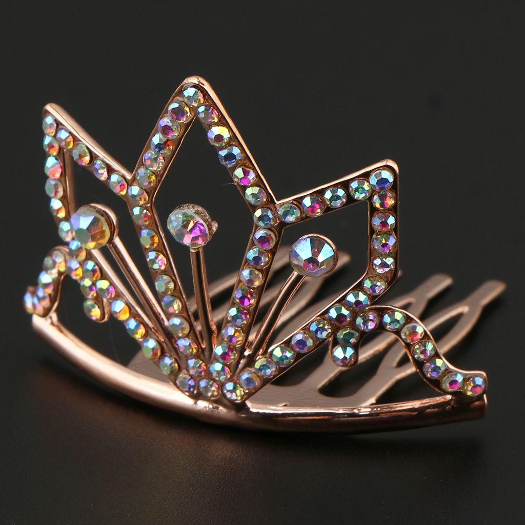 Jóias e elegante de Cristal Rhinestone Mini Crown Side Tiara princesa Costume Acessórios de cabelo Festa de casamento