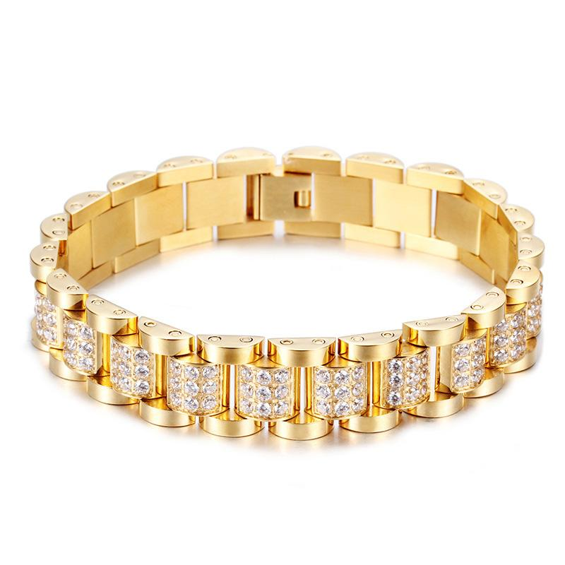 Micro Paved Cubic Zirconia Bling Iced Out Gold Stainless Steel Watch Band Link Chain Bracelet Men Hip Hop Rapper Jewelry