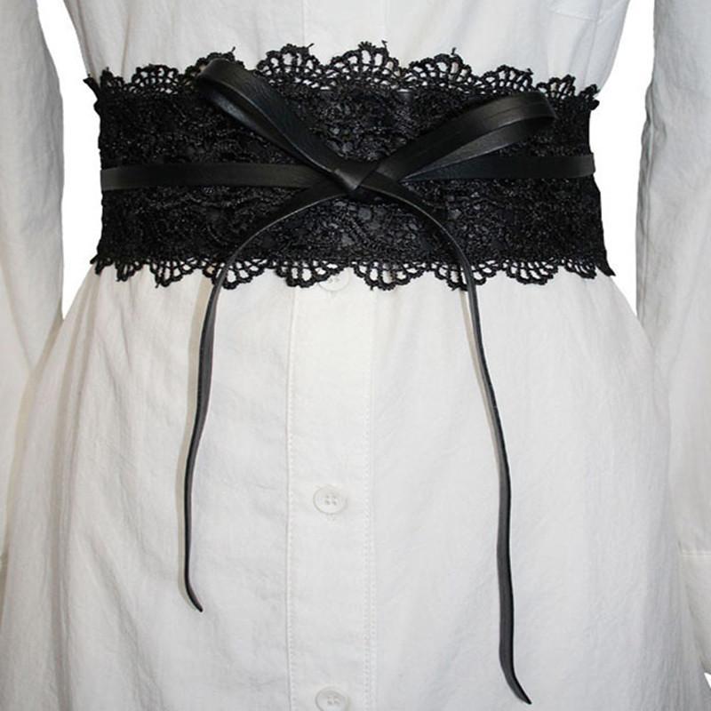Cinturones nuevo diseñador de la correa elástico negro de encaje para las mujeres vestido de la correa de los pantalones vaqueros Mujer vestido de novia de la pretina