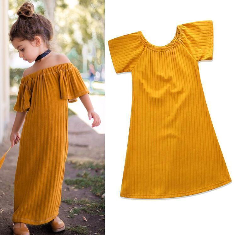 Girls Solid Color Long Dress Kids Basic Style Summer Fashion Horizontal Neck Knitting Fbric Long Skirt For 1 -6y Ins Hot Girls Clothing By08