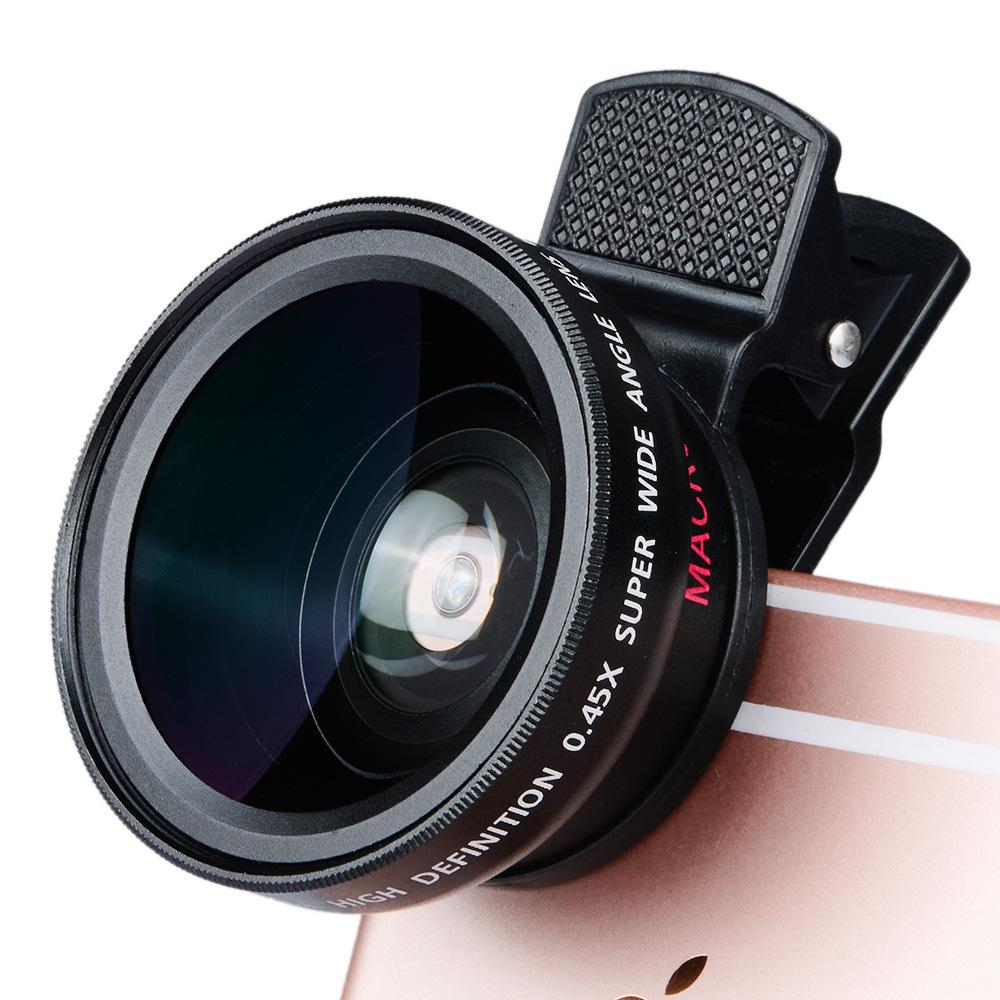 Cell Phone Fisheye Adapter For Iphone Ios Android Photography Fish Eye 37mm 0.45x 49uv Wide Angle Clip Mobile Camera Photo Lens Attachment