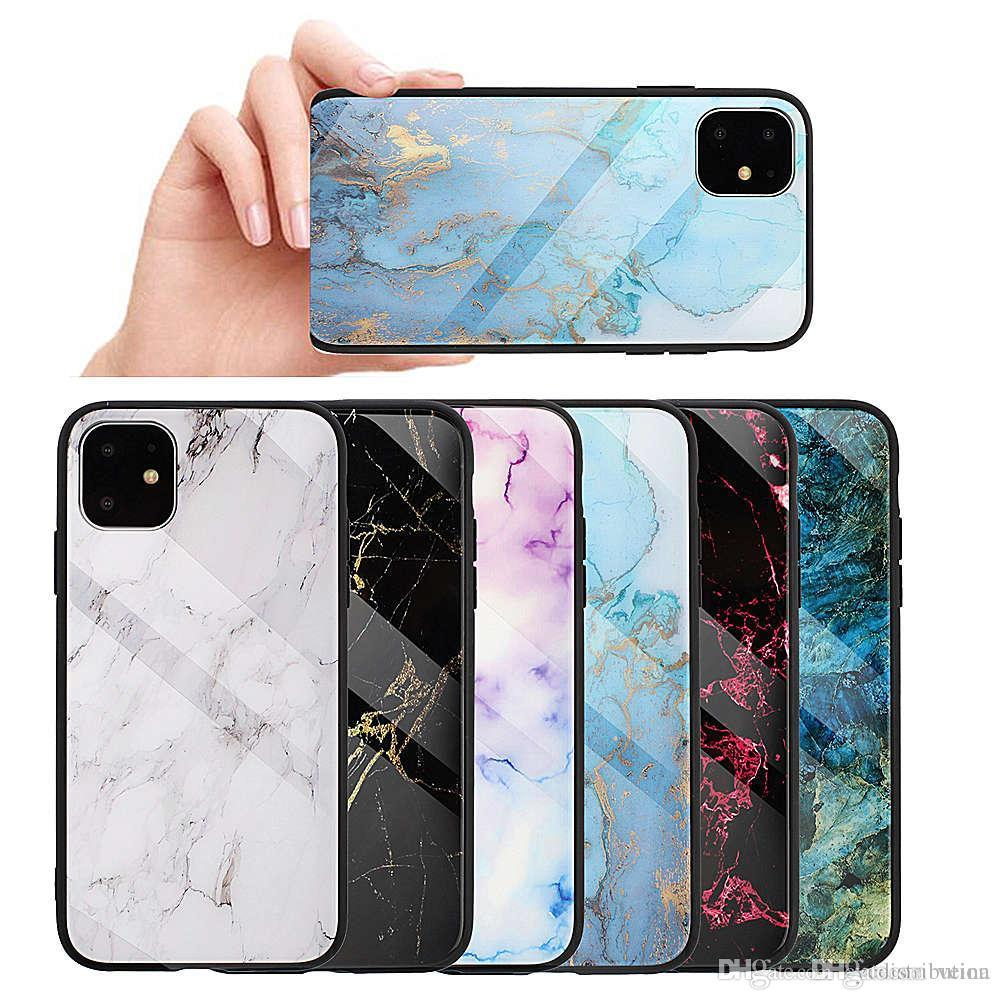 Marble Tempered Glass Cases Back Shell Shockproof Shield Mobile Phone Protection for iphone 6 7 8 XS XR 11 pro