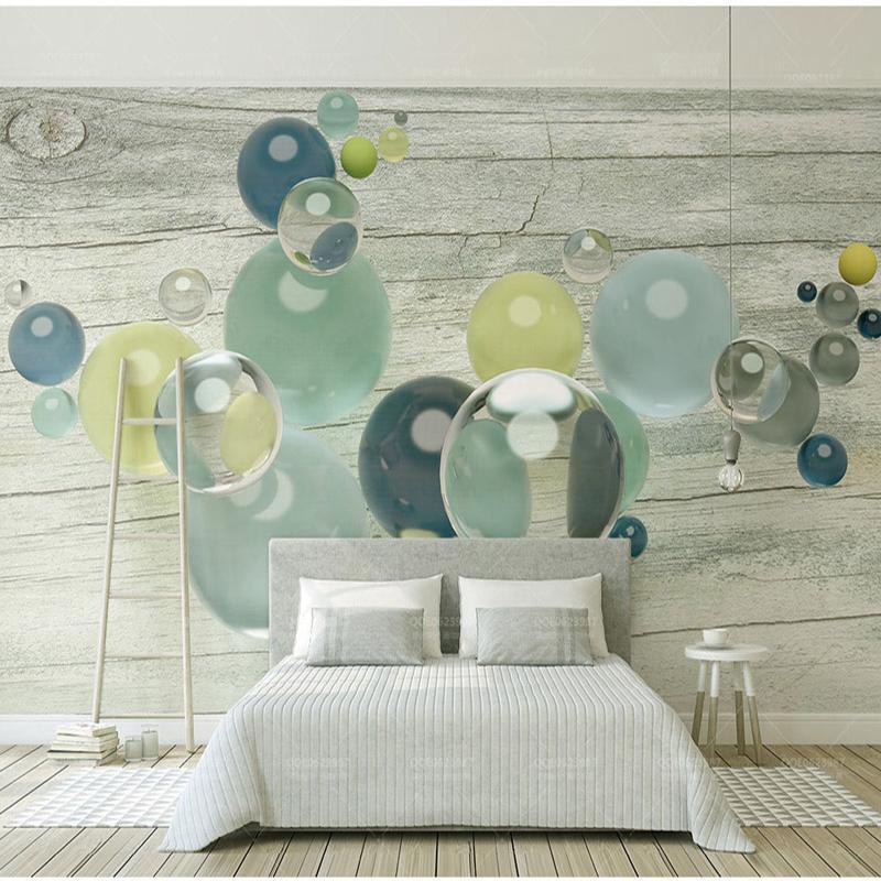 Bacal Bois Bas liseré en verre Boules de cristal 3d Fond d'écran mural pour chambre Sofa fond papier peint 3D Stickers muraux
