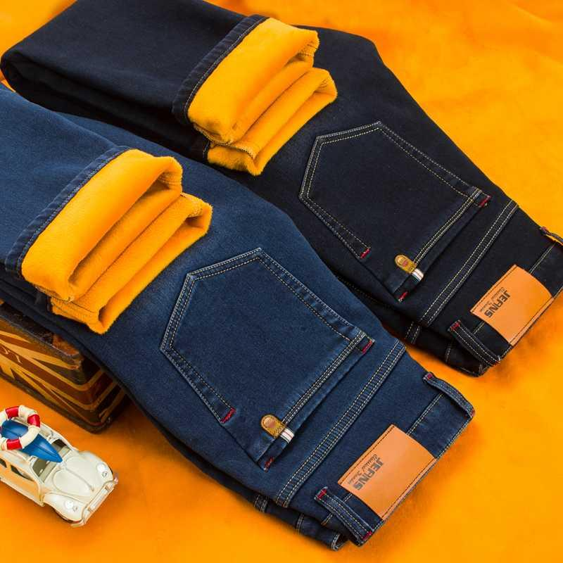 Новый Мужской Марка джинсы Winter Мужская Теплые джинсы Бизнес повседневные прямые Stretch Толстые Тонкий джинсовые брюки черный синий плюс размер 28-40