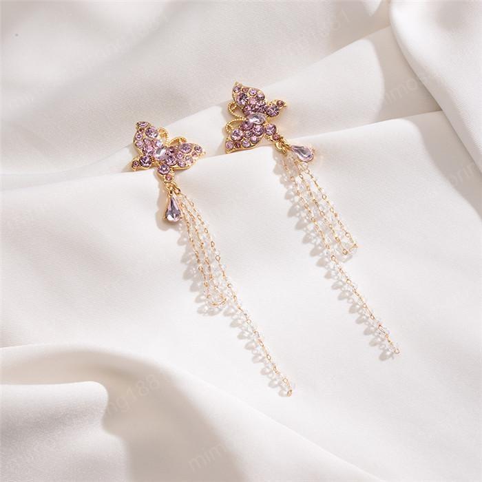 Donne Moda a lungo orecchini di diamante rosa di cristallo della perla della farfalla della nappa ciondola lampadario festa di nozze monili eleganti dell'orecchino di goccia