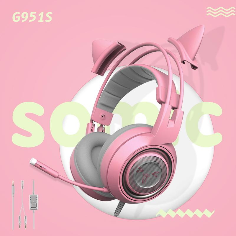 SOMIC G951S PC Gaming Headpset 3,5 мм для наушников DJ Deep Bass Cat гарнитура с микрофоном для компьютера Профессия Gamer