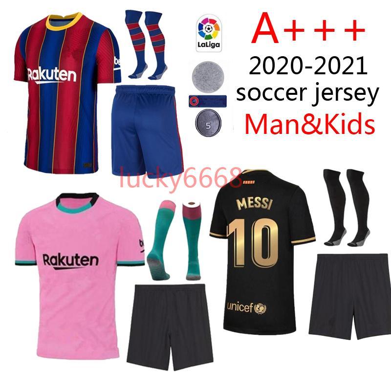 20/21 Barce adulto e kits kits de futebol camisa de futebol 2020 2021 Camiseta homem e criança maillot de pé