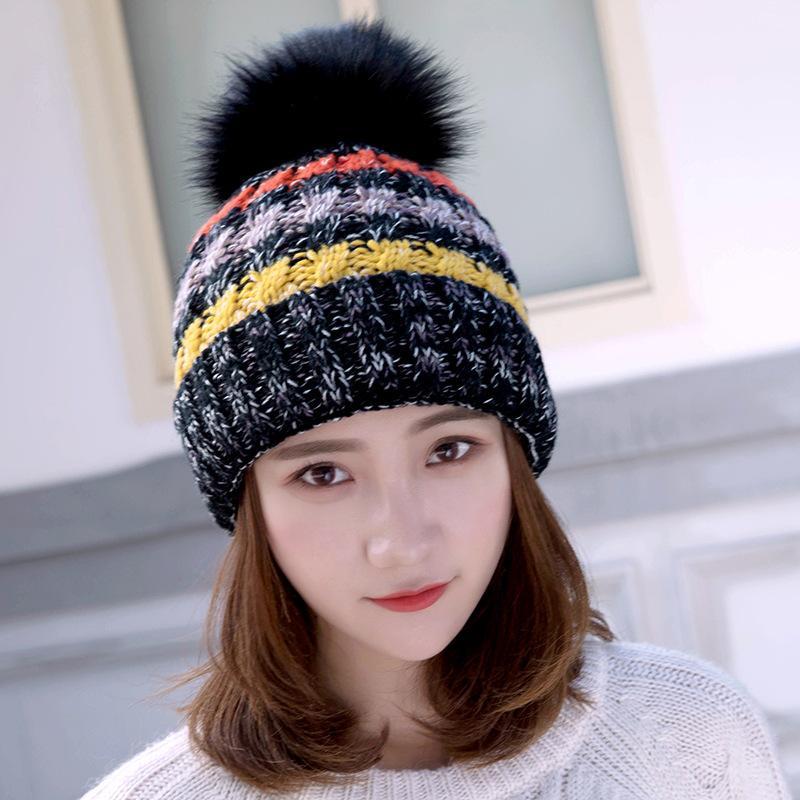 Зимняя вязаная шапка смешанный цвет шерсти шляпа толстые теплые женщины шапочку шапочку шапочки для дам