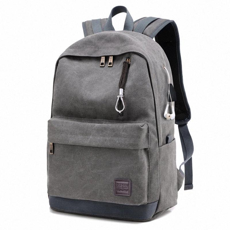 de FGGS-Men Backpack de recarga USB Retro fone Canvas Viagem Esporte Casual Multifunction Grey OVxP #