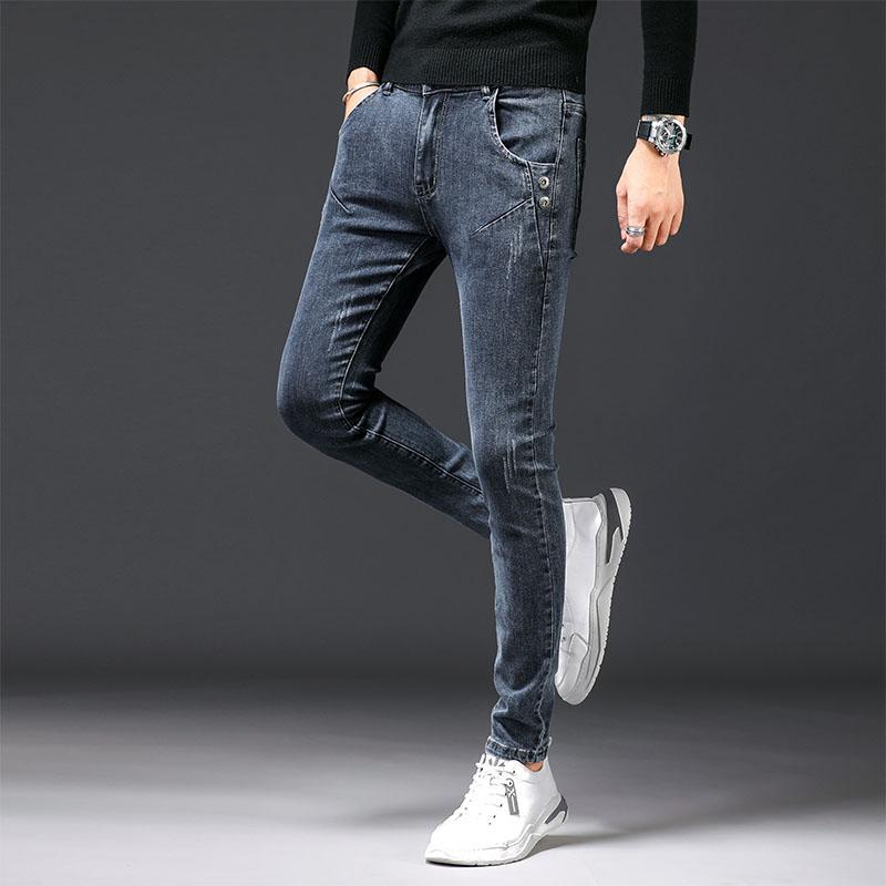 2020 Autunno mens Tutto-fiammifero jeans di affari dritto Slim moda casual Retro pantaloni giovanili Grey Stretch Jeans Uomo Denim Pantaloni