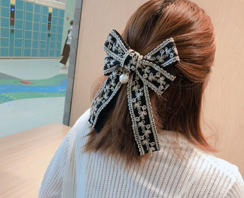 8 Colors Women Hairpins Lace Embroidery Big Bow Snap Hair Clips Palace Style Bobby Pins Head Top and back Barrettes Headwear Hair Jewelry