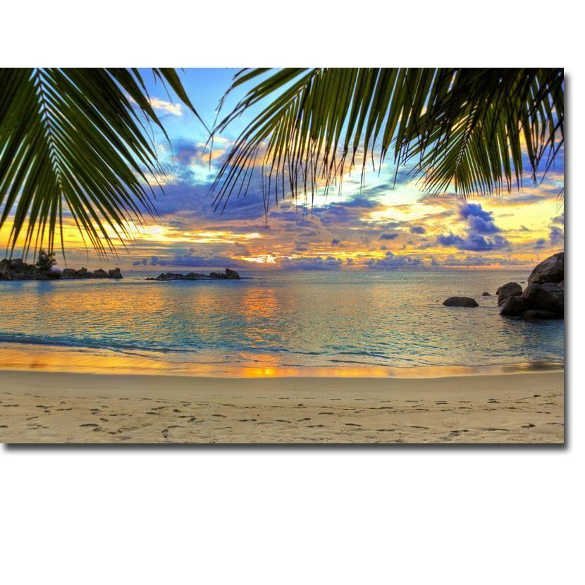 NICOLESHENTING Sonnenuntergang - Hawaii Beach Ocean Sea Waves Art Silk Plakat-Druck 13x20 24X36inch Bilder Wohnzimmer Coconut Tree 008