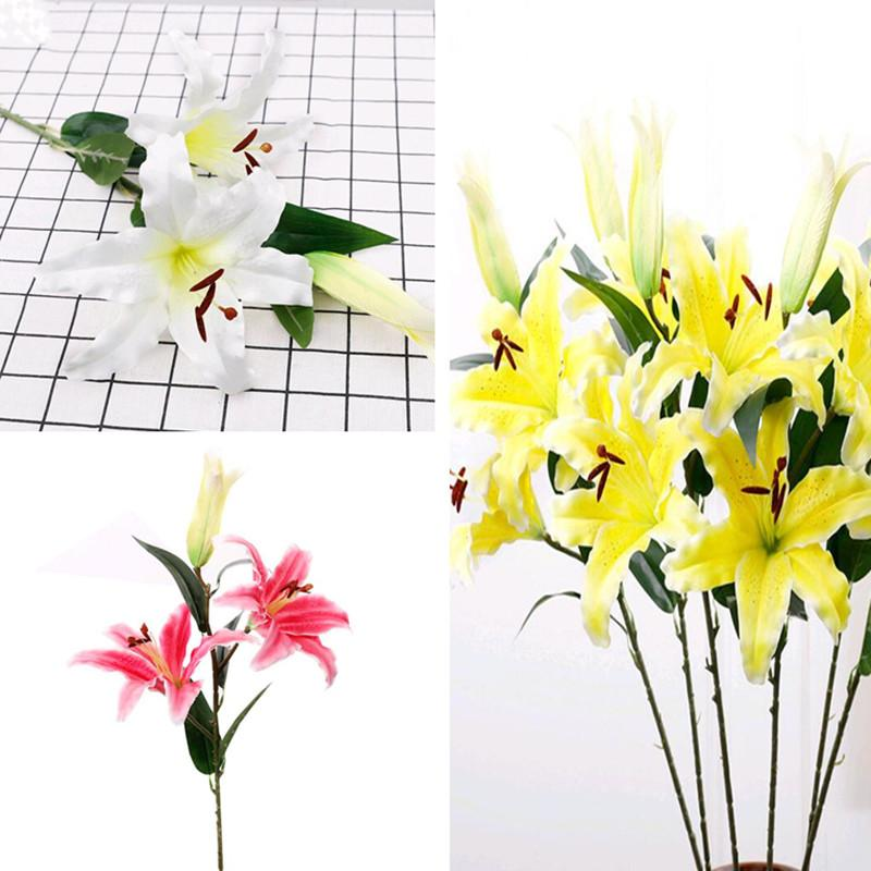 7pcs seda artificial flor del lirio de los lirios de tres cabezas blanco / rosa / amarillo flor de lirio de los tallos de hogar de la boda artificial de la decoración