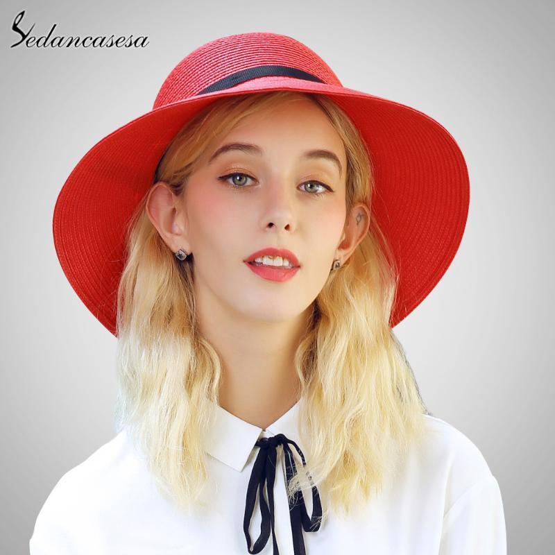 Wide Brim Hats Sedancasesa 2021 Fashion Straw Hat Female Summer Leisure Outdoors Sun With Sample Bow Girls SW105164
