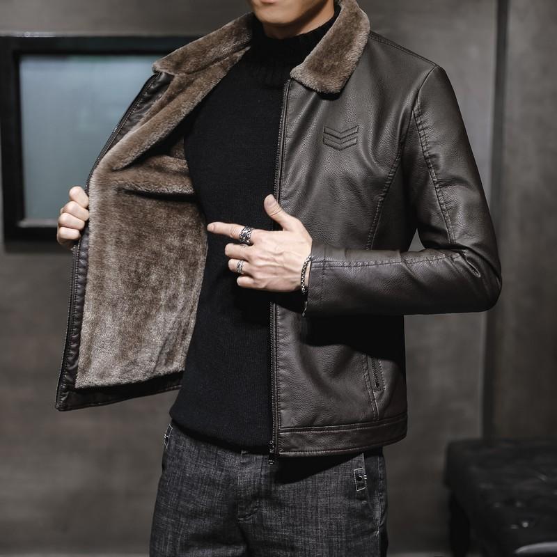 Nouveau épais Veste en cuir de Hommes Automne Hiver Veste Mode Faux de col de fourrure de manteau coupe-vent chaud Homme Marque Vêtements MY156
