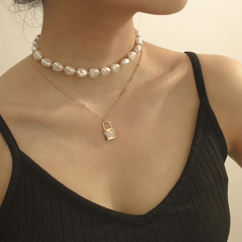Perle Collier ras du cou Femme simple strass papillon multi-couche de verrouillage collier pendentif