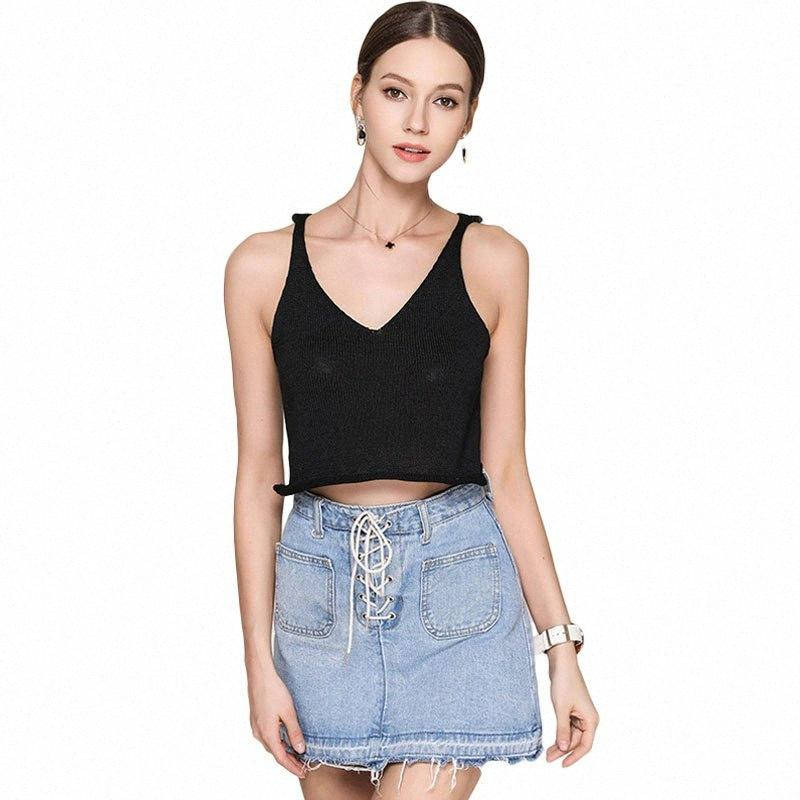 Sexy Womens Plunging V-Neck Vest Tops Cropped Wavy Hem Sleeveless Knit Shirt Bottoming Sweater Tank Top Summer Blouse Camisole QWYR#