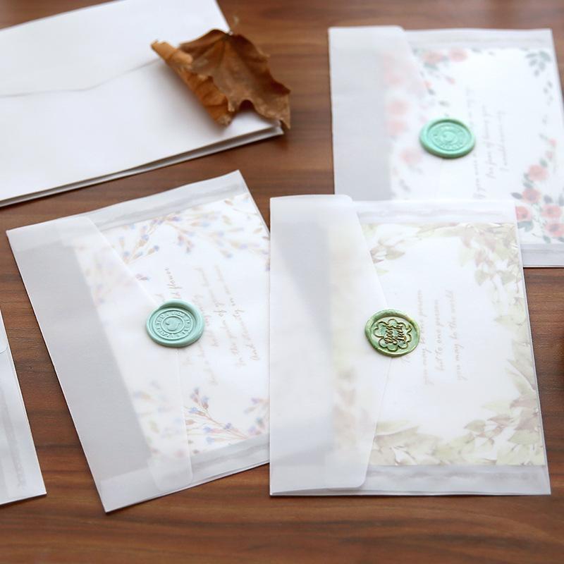 Amais 10pcs/lot Custom Transparent Envelope Translucent Paper Envelopes Set Letter Vintage Wedding Invitation Envelopes for Card