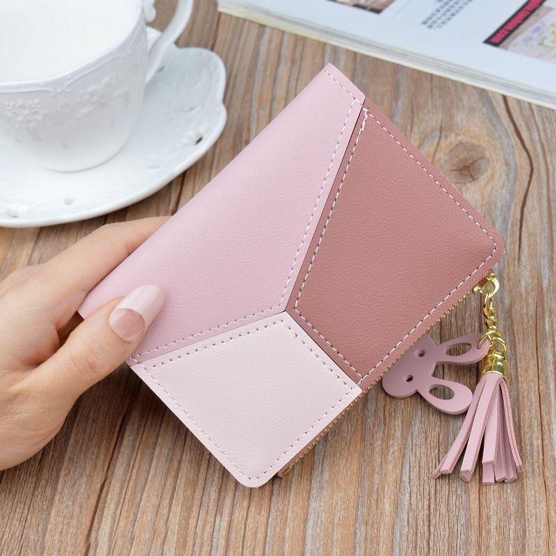 estilo t8YP5 coreano zipper novo curto carteira das mulheres costura cor contraste curto carteira de borla zipper multi-cartão porta-moedas