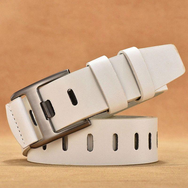 Neue Frauen-Gurt-Leder-Legierung Dornschliesse Gürtel Weiblicher beiläufiges Weiß Vintage Taillen-Bügel für Kleid Gürtel 90 95 110 120cm KMAJ #