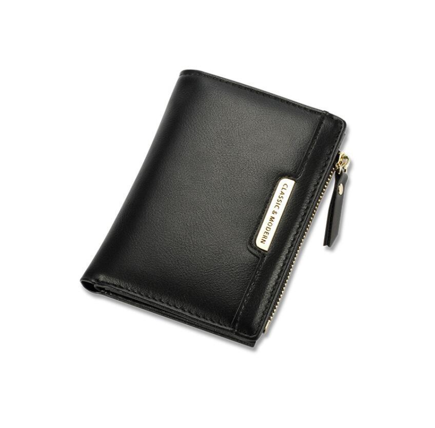Neue einfache kurze Zweifache Frauen Brieftasche Mode Nähen Reißverschluss Geldbörse