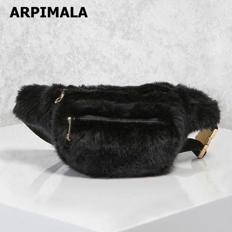 Marsupio ARPIMALA Donne Faux Fur pacchetto di Fanny Bianco Nero Pelliccia petto Bag Small per Girl Unisex Moda Shopper Borse