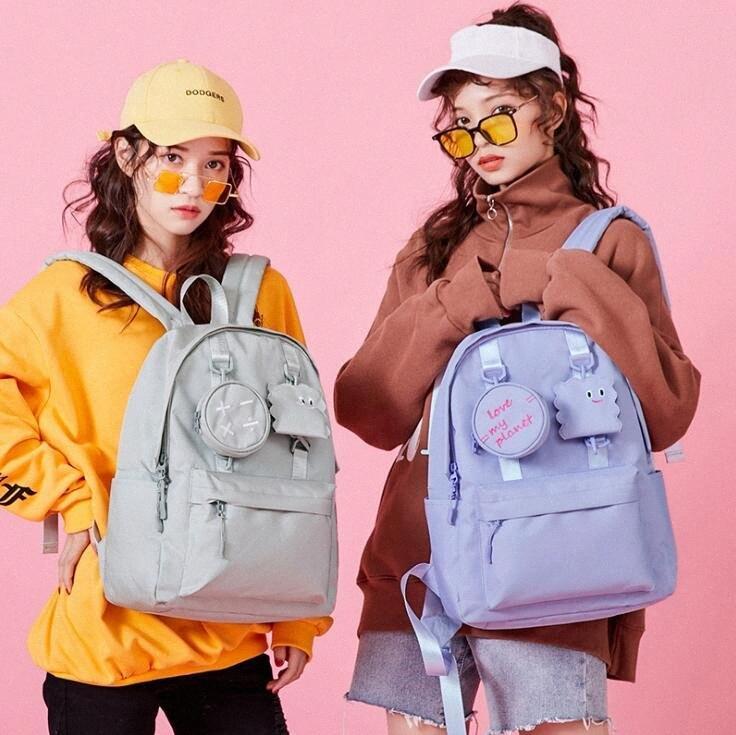 Nuove nylon per bambini Zaino ragazze impermeabili per la spalla studenti delle scuole medie di viaggio Zaini Bambini Bag Donna Zaini etux #