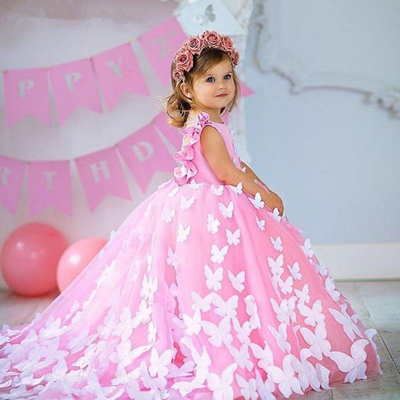 La muchacha linda flor de los vestidos de cuello de la joya con cuentas apliques de plumas desfile de la muchacha del vestido de conexión en cascada de la colmena de barrido tren por encargo Vestidos de cumpleaños