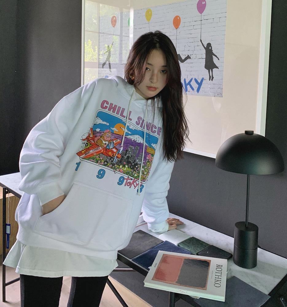 vg9hs Outono e Inverno meados de comprimento Hong Kong estilo cartoon imprimir estilo solto preguiçoso lã com capuz engrossado simples pullover sweater pullover