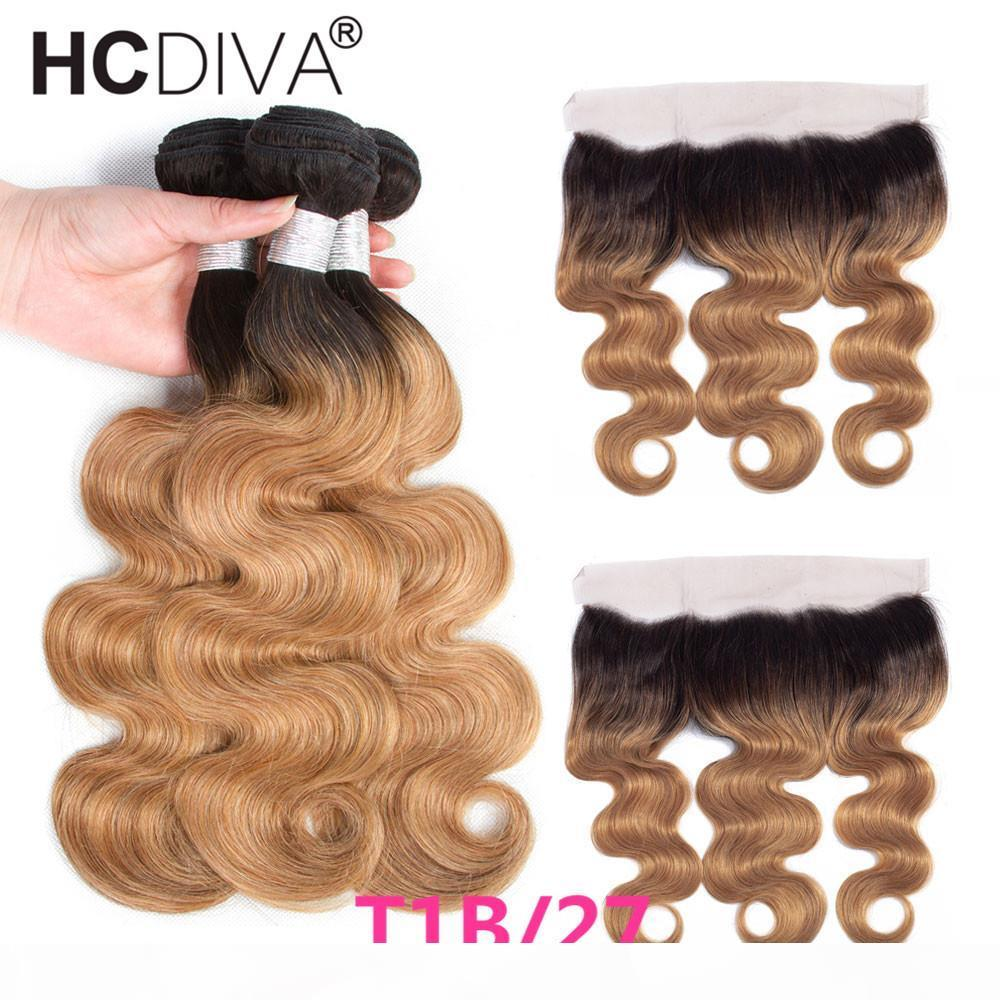 Ombre Bundles With Frontal Closure Peruvian Virgin Body Wave Two Tone Dark Roots Human Hair Weave Honey Blonde Brown Wine Red Colored Hair