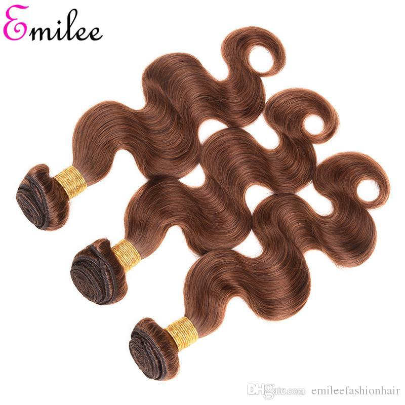 Emilee Chocolate Brown Hair Weave Brazilian Color 4 Body Wave Hair Bundles Brown Remy Human Hair Extension 10 inch