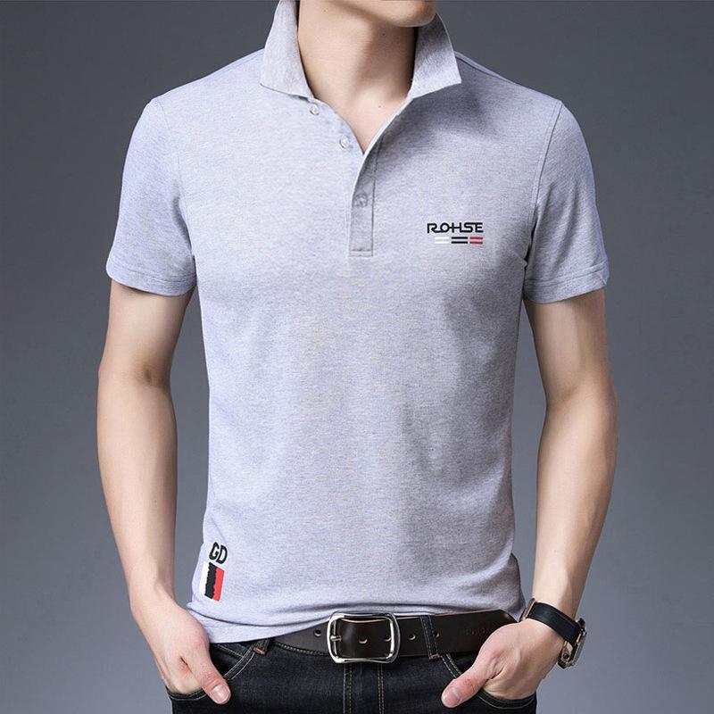 Herren 2020 Sommermänner Revers Stretch Piqué Baumwollnormallackdruck Schlanke Kurzarm-T-Shirt der Männer Polohemd