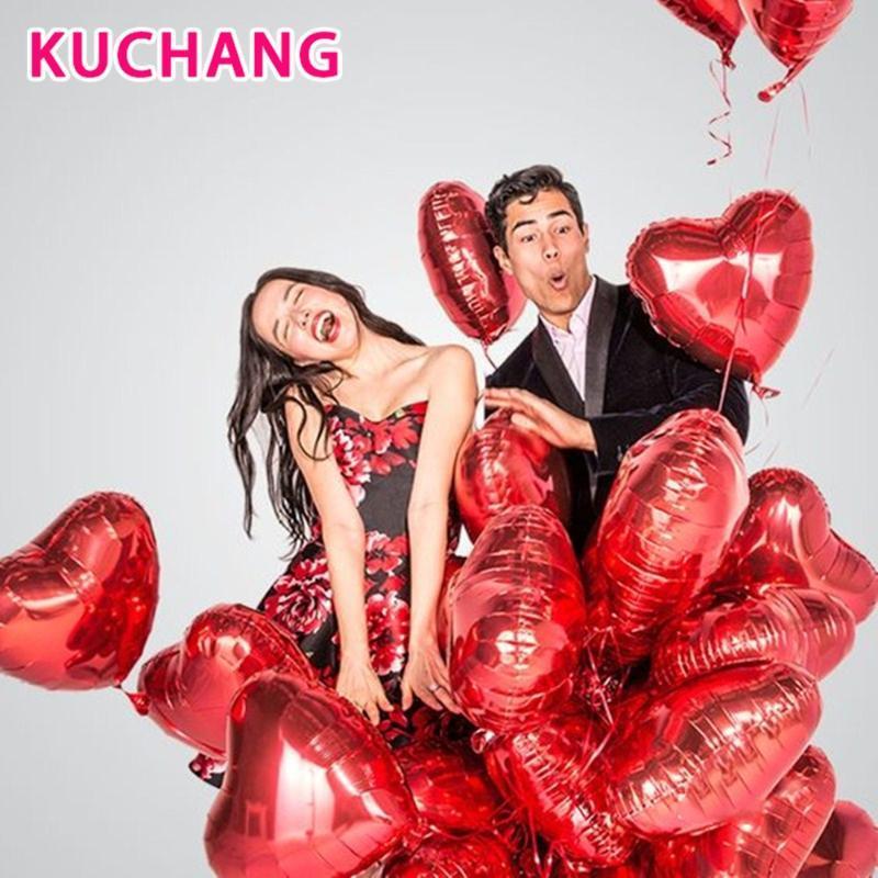 Día Globos Decoración Suministros regalos 10pcs 18inch hoja roja del corazón de oro rosa inflable globos de helio boda del cumpleaños de Valentine
